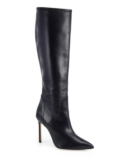 Manolo Blahnik | Black Hanzuotal Leather Knee-high Boots | Lyst