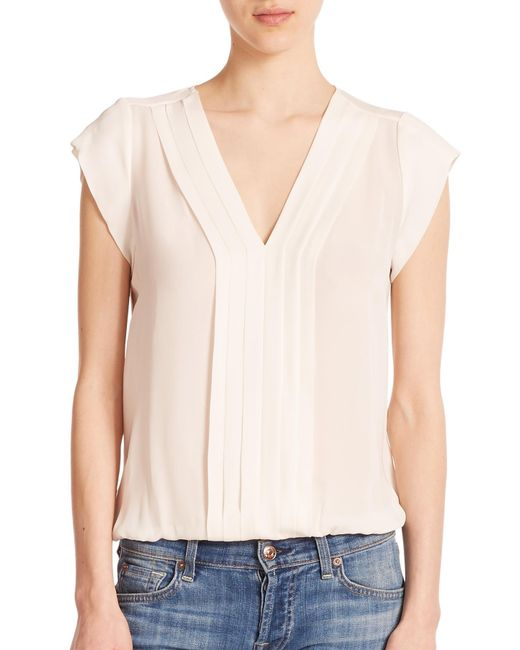Joie | White Marcher Silk Pintuck-pleated Blouse | Lyst