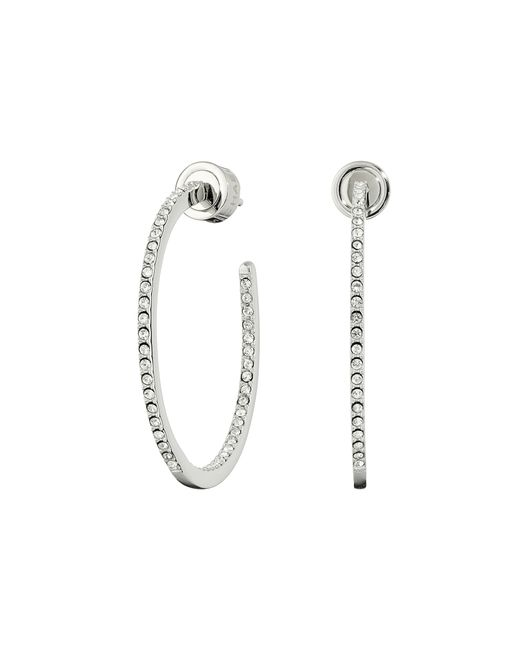 michael kors small pave inside out hoop earrings in silver. Black Bedroom Furniture Sets. Home Design Ideas