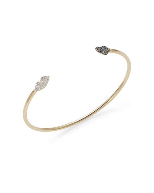 Kacey K | Metallic White Diamond, Black Diamond & 14k Gold Heart & Lips Bracelet | Lyst