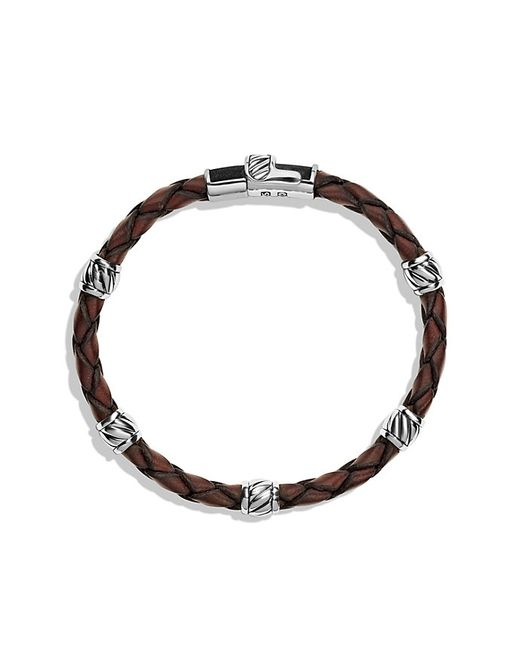 David Yurman | Leather Station Bracelet In Brown for Men | Lyst