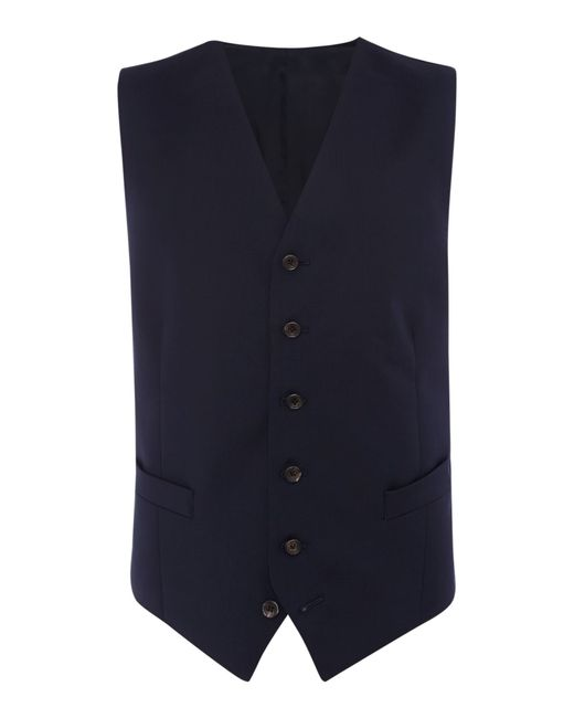 Chester Barrie | Blue Plain Tailored Fit Waistcoat for Men | Lyst