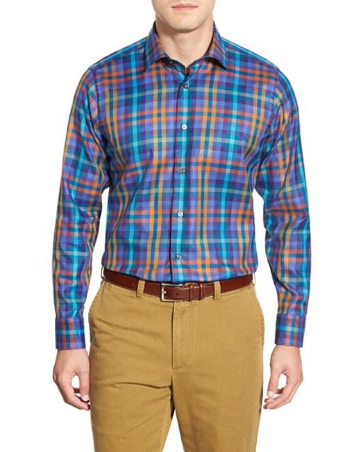 Robert talbott 39 crespi 39 tailored fit plaid sport shirt in for Robert talbott shirts sale