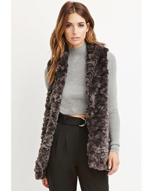 Forever 21   Brown Contemporary Faux Fur Longline Vest   Lyst
