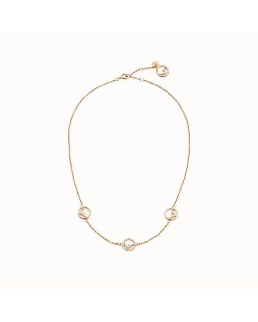 3ae518c483ba Lyst - Fendi Short Logo Charm Necklace in Metallic - Save 29%
