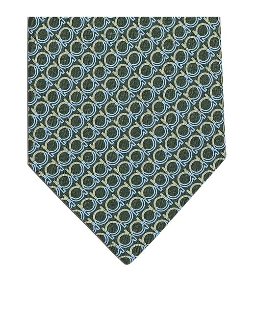 Ferragamo Green Gancini Print Tie for men