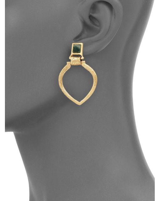 Stephanie Kantis | Metallic Tier Green Moss Agate Doorknocker Earrings | Lyst