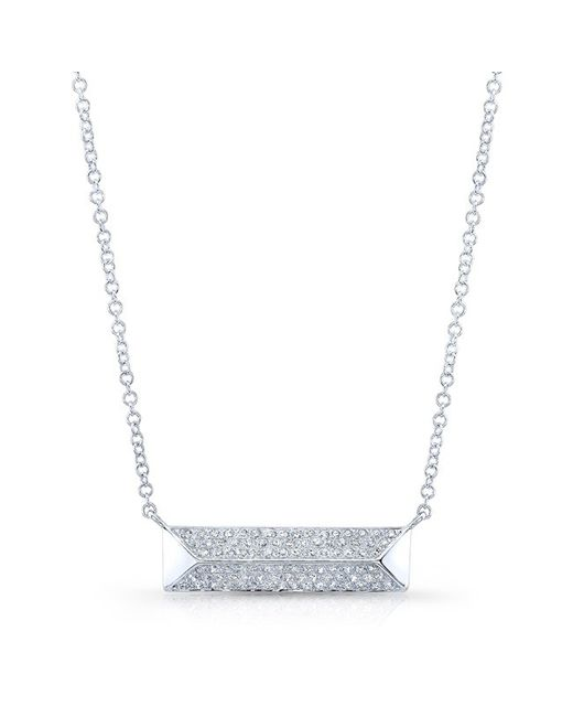 Anne Sisteron | Metallic 14kt White Gold Diamond Pyramid Bar Necklace | Lyst