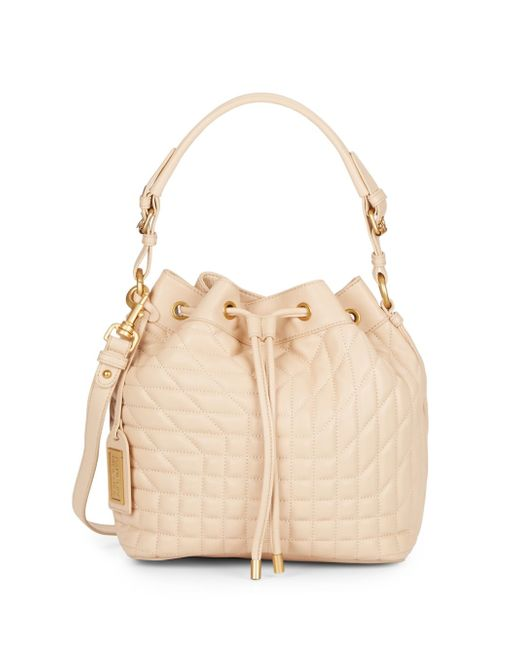 Badgley Mischka | Natural Clarissa Quilted Leather Bucket Bag | Lyst