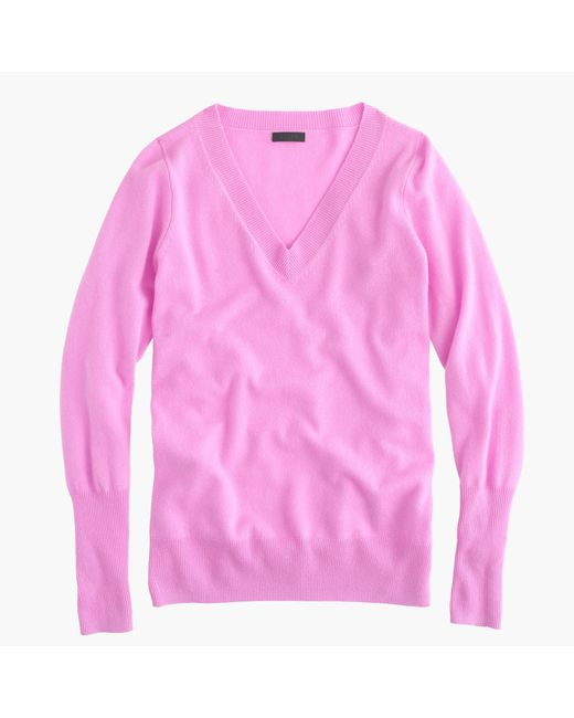 J.Crew | Pink V-Neck Cashmere Sweater | Lyst