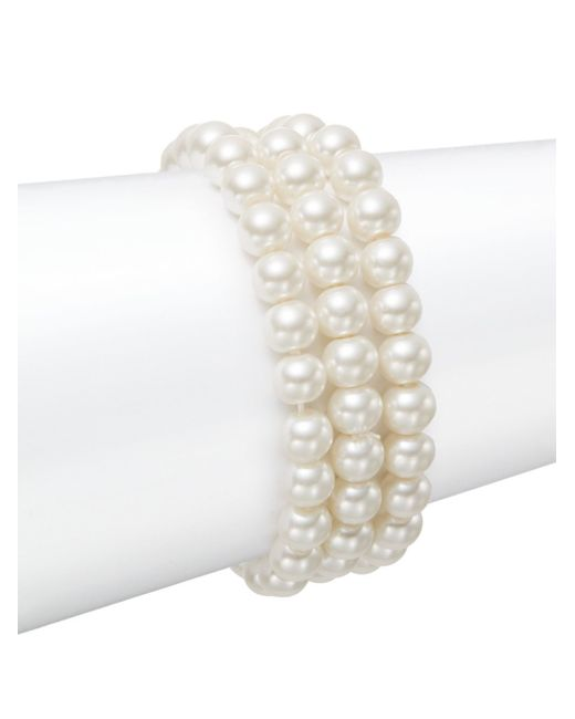 Saks Fifth Avenue | White Three-strand Simulated Pearl Stretch Bracelet | Lyst