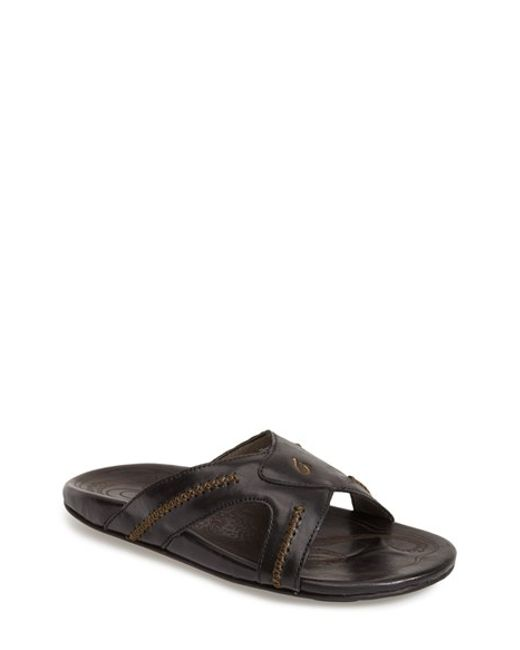 Olukai | Black 'mea Ola' Slide Sandal for Men | Lyst
