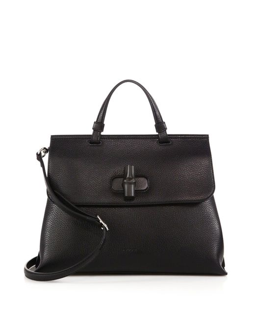 Gucci | Black Bamboo Daily Leather Top Handle Bag | Lyst
