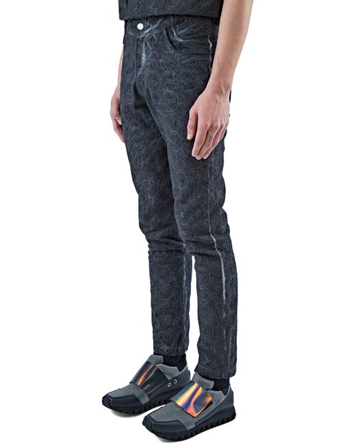 Telfar men s embroidered logo straight leg jeans in black