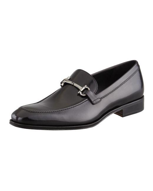 Ferragamo | Black Fenice Apron Toe Bit Loafers for Men | Lyst