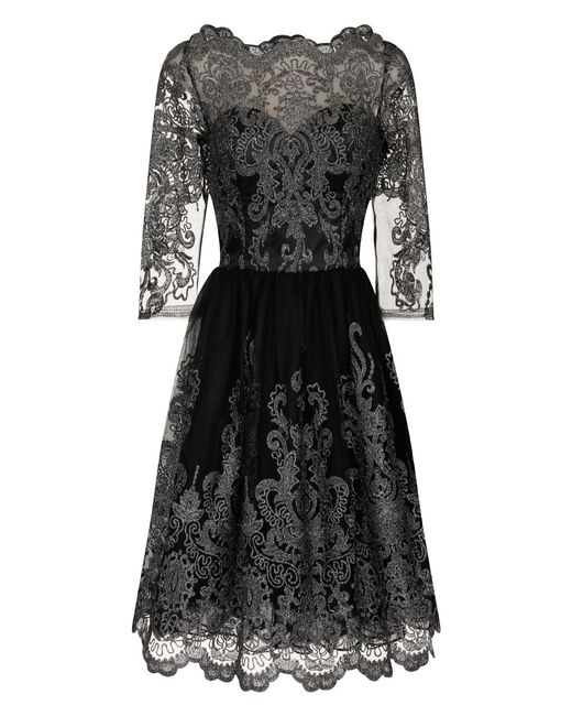 Chi Chi London | Metallic Lace Tea Dress | Lyst