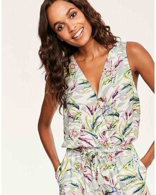 46b515954a69 ... Figleaves - Green Vintage Palm Jumpsuit - Lyst ...