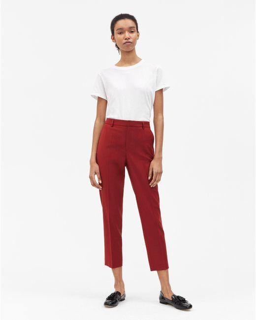 Filippa K - Emma Cropped Cool Wool Trouser Deep Red - Lyst