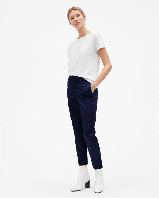 Filippa K - Blue Emma Cropped Shiny Trousers Navy - Lyst