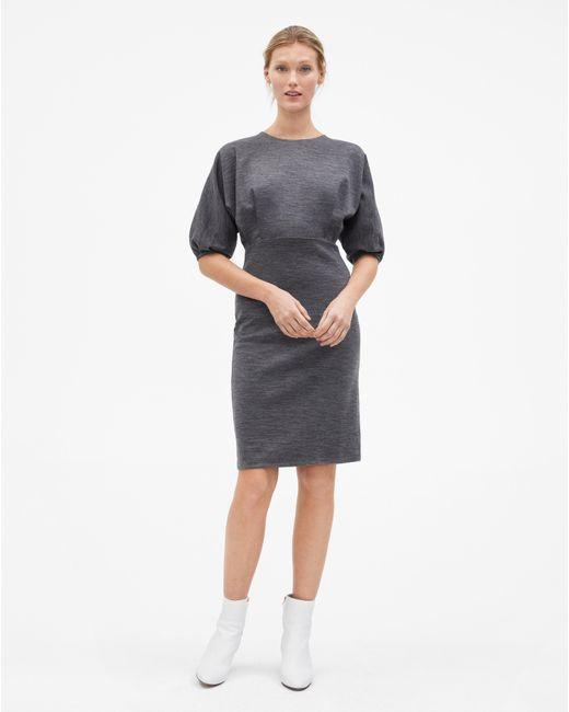 Lyst Filippa K Volume Sleeve Wool Dress Dark Grey Melange In Gray