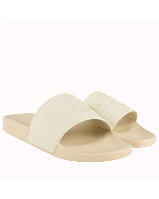 95db19e2297 Lyst - Gucci Pursuit Logo Slides in White for Men - Save 35%