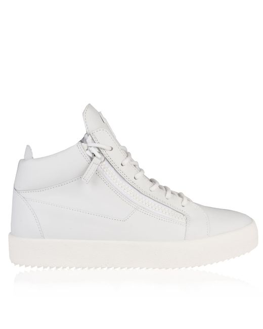Giuseppe Zanotti - White Leather May Mid Top Trainers for Men - Lyst