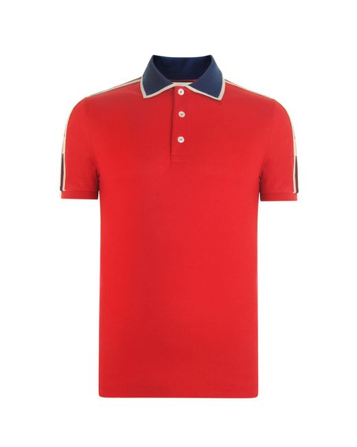 Gucci - Red Ribbon Polo Shirt for Men - Lyst