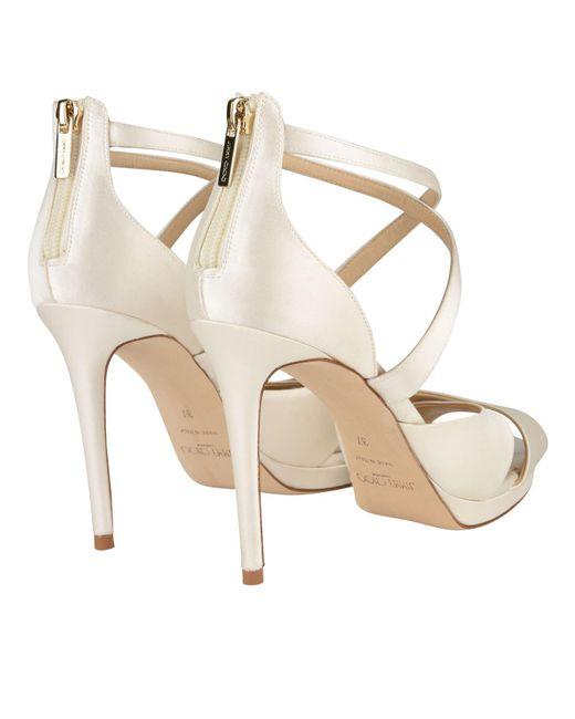 20c11dde69e ... Jimmy Choo - White Lorina 100 Heeled Sandals - Lyst ...