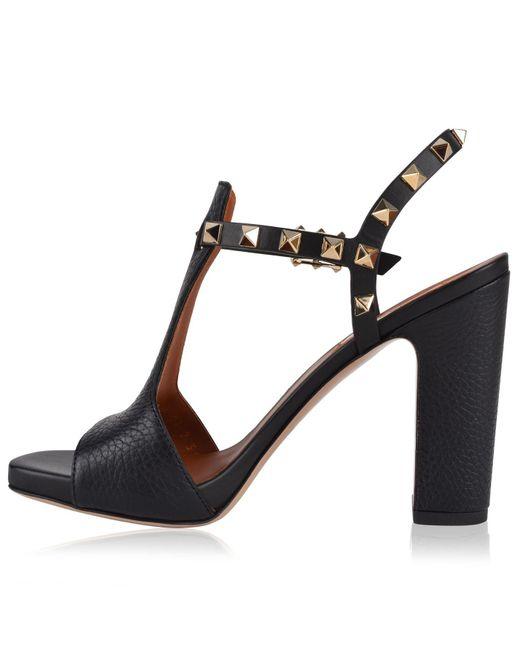 4395bf68bd5 ... Valentino - Black Rockstud Block Heeled Sandals - Lyst ...