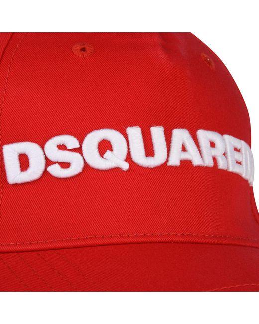 740b3ea9e3418d ... DSquared² - Red Logo Baseball Cap for Men - Lyst