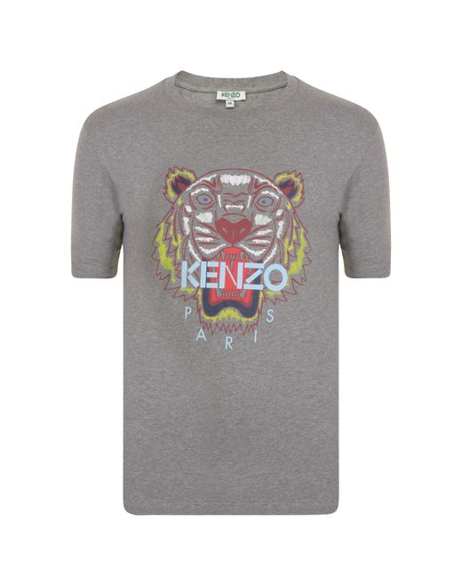 52e2d840 KENZO - Gray Tiger Logo T Shirt for Men - Lyst ...