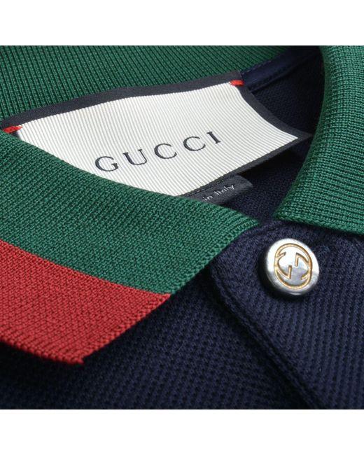 9885c6c667e ... Gucci - Blue Contrast Collar Polo Shirt for Men - Lyst