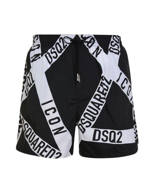 75b06f3eb8 DSquared² Branded Swim Shorts in Black for Men - Save 50% - Lyst