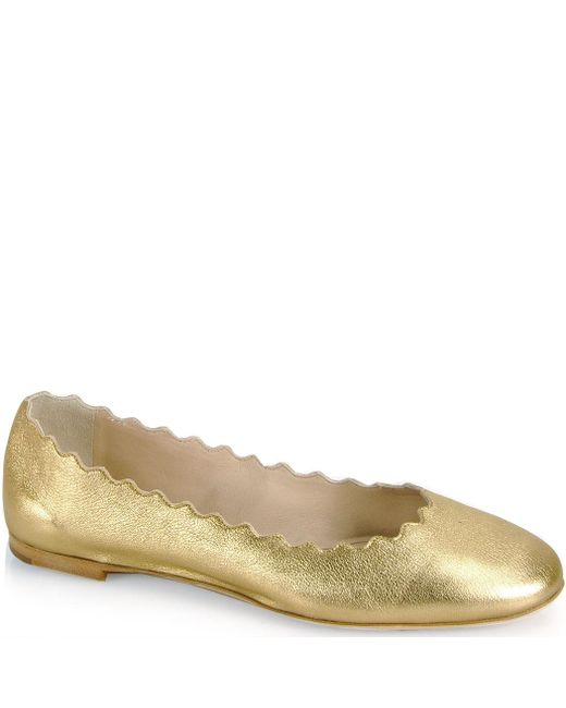 Chloé | Metallic Scalloped Ballet Flat | Lyst