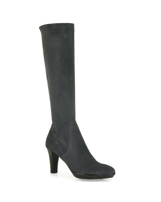 Aquatalia - Black Stretch-Suede Knee-High Boots - Lyst