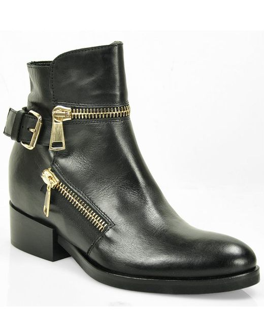 275 Central | Black Leather Buckle Ankle Boot | Lyst