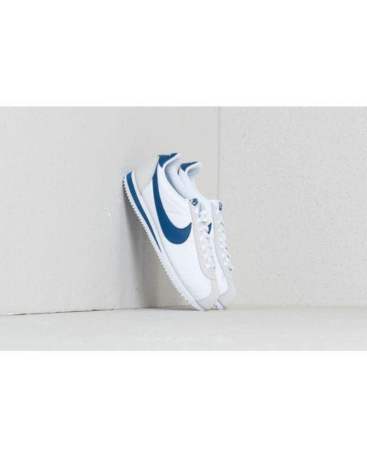 online store 2e862 3c312 ... new zealand nike classic cortez nylon white gym blue for men lyst dc3e1  82937