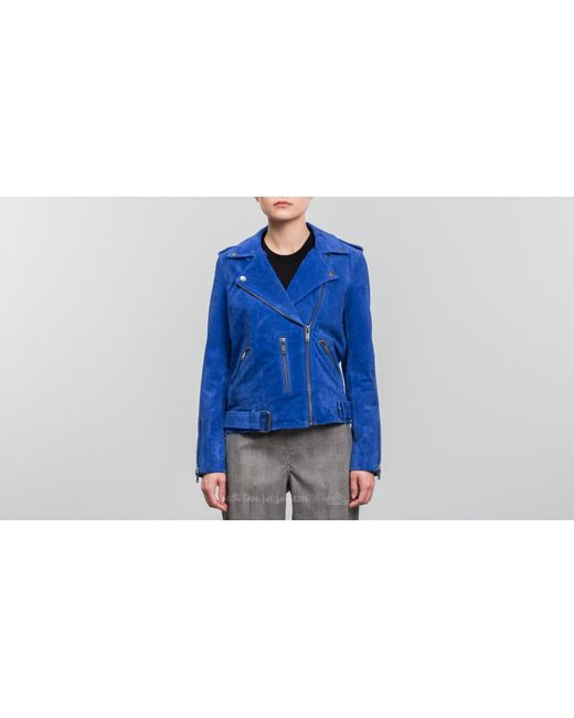 Footshop - Blue Selected Sfsanella Leather Jacket Surf The Web - Lyst