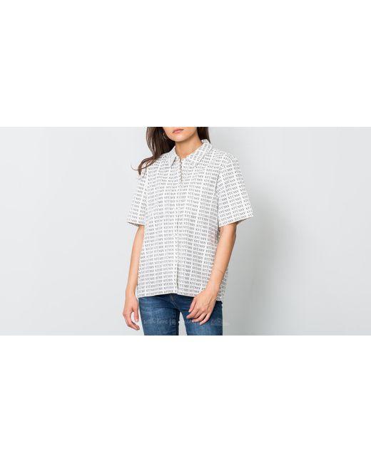 Stussy - Eva Printed Corduroy Shirt White - Lyst