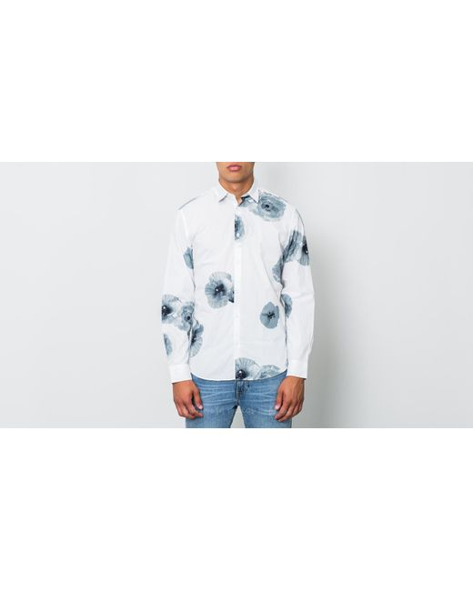 Footshop - Selected Slimbig Flower Longsleeve Shirt Bright White for Men - Lyst