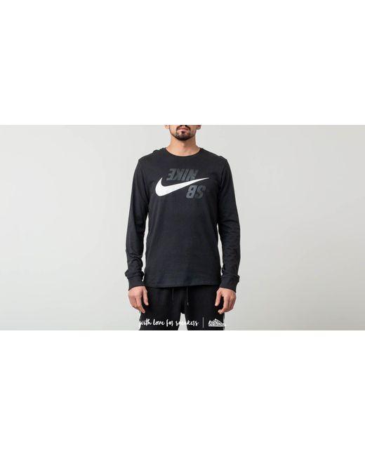 875c33d37 Lyst - Nike Sb Long Sleeve T-shirt Phantom Black/ White in Black for Men
