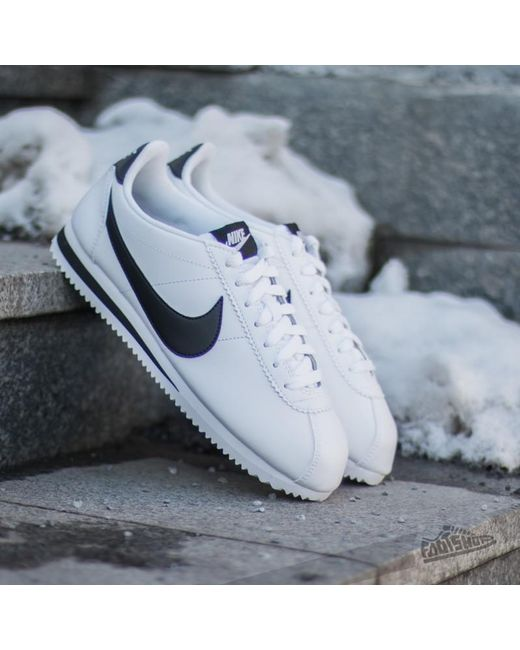 huge selection of 85b07 0eb48 Nike - Wmns Classic Cortez Leather White Black-white - Lyst ...