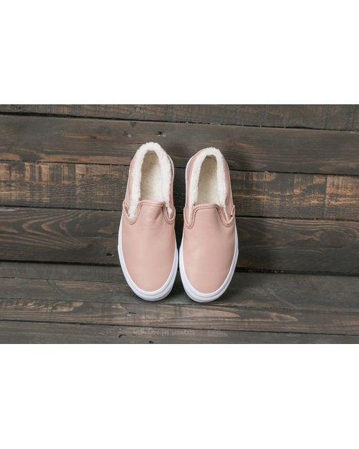 vans classic slip on checkerboard mahogany rose true white