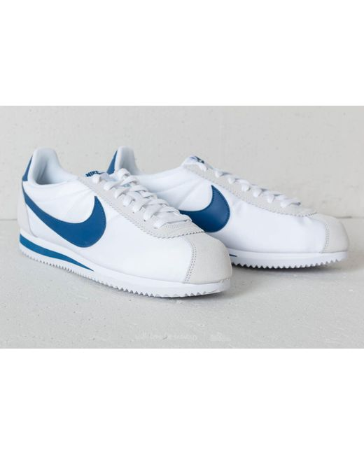sports shoes dbf5d 70d5a ... new zealand nike classic cortez nylon white gym blue for men lyst f7708  ffc5e