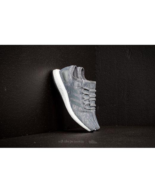 Tres pureboost Lyst footshop Adidas gris / gris / gris de dos en dos