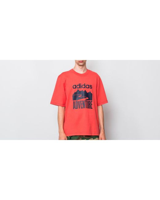 e2dac1767f Adidas Originals - Red Adidas Adventure Tee Trace Scarlet for Men - Lyst ...