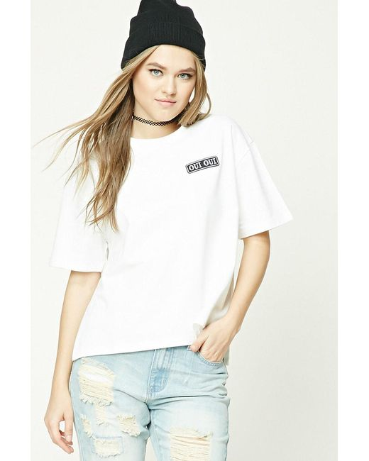 Forever 21 - White Women's Oui Oui Patch Tee Shirt - Lyst