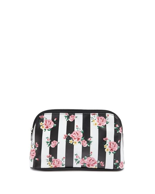 Forever 21 - Black Rose Print Striped Makeup Bag - Lyst
