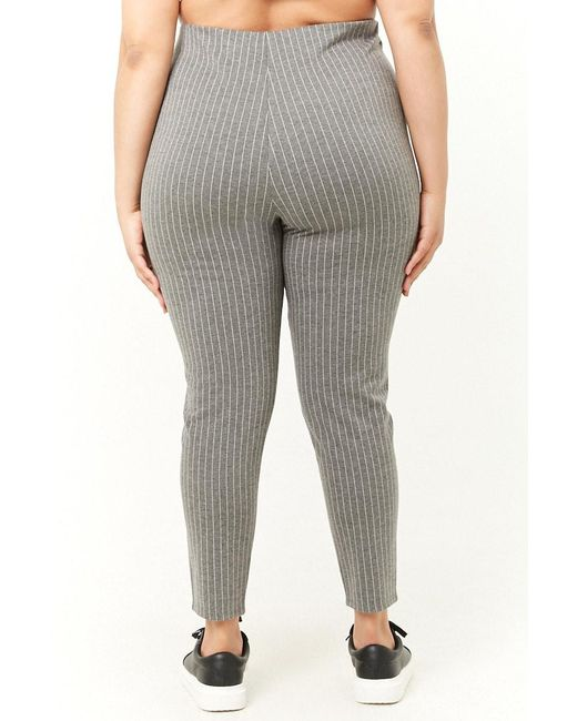1c23b1248f9 ... Forever 21 - Gray Plus Size Pinstriped Leggings - Lyst