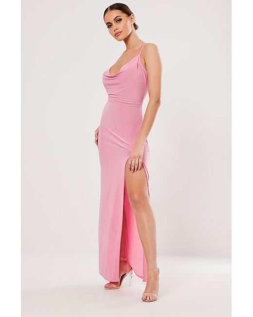 Missguided - Pink Cowl Neck Maxi Dress At - Lyst